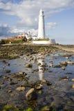 St Marys Vuurtoren in Baai Whitley Royalty-vrije Stock Fotografie