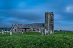 St Materiana`s parish church in Cornwall at night