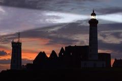St Mathieu lighthouse at dusk Stock Image
