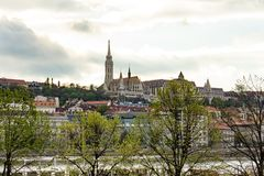 St Matthias church - view from the other bank of the Danube. Budapest, Hungary royalty free stock photography