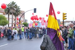 1st May demonstration in Gijon, Spain. GIJON, SPAIN - MAY 1: Manifestation summoned by the UGT and CCOO labor unions to celebrate Labor Day in May 1, 2015 in Stock Photo