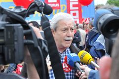 1st May demonstration in Gijon, Spain. GIJON, SPAIN - MAY 1: Manifestation summoned by the UGT and CCOO labor unions to celebrate Labor Day in May 1, 2015 in Royalty Free Stock Photos