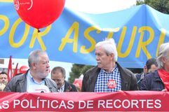 1st May demonstration in Gijon, Spain. GIJON, SPAIN - MAY 1: Manifestation summoned by the UGT and CCOO labor unions to celebrate Labor Day in May 1, 2015 in Stock Image