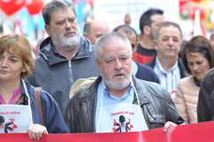 1st May demonstration in Gijon, Spain. GIJON, SPAIN - MAY 1: Manifestation summoned by the UGT and CCOO labor unions to celebrate Labor Day in May 1, 2015 in Stock Photography