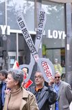 1st May demonstration in Gijon, Spain. GIJON, SPAIN - MAY 1: Manifestation summoned by the UGT and CCOO labor unions to celebrate Labor Day in May 1, 2015 in Royalty Free Stock Photo