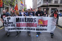 1st May demonstration in Gijon, Spain. GIJON, SPAIN - MAY 1: Manifestation summoned by the UGT and CCOO labor unions to celebrate Labor Day in May 1, 2015 in Royalty Free Stock Photography