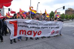 1st May demonstration in Gijon, Spain. GIJON, SPAIN - MAY 1: Manifestation summoned by the UGT and CCOO labor unions to celebrate Labor Day in May 1, 2015 in Stock Photos