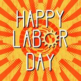 1st May Happy Labor Day. Retro, vintage background. Gears. Red color vector illustration