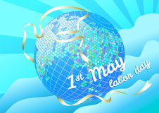 1st may Labor day vector illustration. Globe and silhouette dove Stock Photo