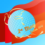 1st may Labor day vector illustration. Globe and silhouette dove white banner on red flags background Stock Photography