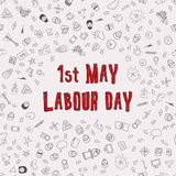 1st May - Labour Day. Vector Labour Day Poster. With red title and doodles Stock Image