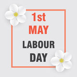 1st of May. Labour and Spring Day. Bright background with flowers of apple. May poster or banner. Royalty Free Stock Photo
