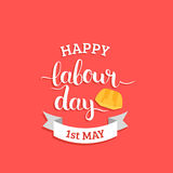 1st may lettering vector background. Happy Labour Day logo concept with helmet. International Workers day illustration. 1st may lettering vector background Royalty Free Illustration