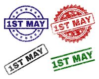 Scratched Textured 1ST MAY Stamp Seals. 1ST MAY seal prints with distress style. Black, green,red,blue vector rubber prints of 1ST MAY text with dust style royalty free illustration