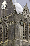 St mere eglise church tower with parachutist Stock Images