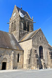 St. Mere Eglise, Normandy, France. Paratrooper hanging from church, St. Mere Eglise, Normandy, France Stock Photography