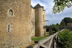 ST MESMIN, FRANCE - JULY 9, 2017: External view of St Mesmin Castle in Saint Andre sur Sevres, Deux Sevres Royalty Free Stock Photography