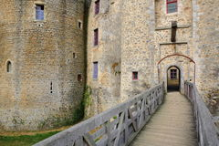 ST MESMIN, FRANCE - JULY 9, 2017: The main entrance to St Mesmin castle in Saint Andre sur Sevres, Deux Sevres. The main entrance to St Mesmin castle in Saint Royalty Free Stock Photography