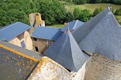 ST MESMIN, FRANCE - JULY 9, 2017: View of the roofs of St Mesmin Castle from the dungeon, Saint Andre sur Sevres, Deux Sevres Royalty Free Stock Image