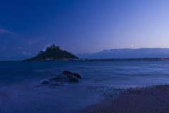 St Michael's Mount. A view of St Michael's Mount at night Royalty Free Stock Photos