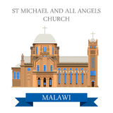 St Michael and All Angels Church in Blantyre Malaw. I. Flat cartoon style historic sight showplace attraction web site vector illustration. World countries Stock Image