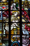 St. Michael (angel) fighting evil (stained glass) Royalty Free Stock Photography