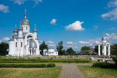 St Michael the Archangel Church and old city park, Beryoza, Belarus. Royalty Free Stock Image