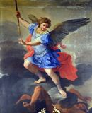 St Michael the Archangel. Altarpiece by Ludovico Gimignani in Chapel of , Basilica di Sant Andrea delle Fratte, Rome, Italy stock photography