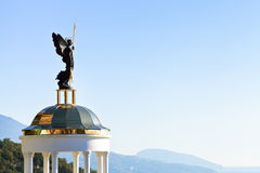 St. Michael the Archangel statue on kiosk, Crimea Stock Images