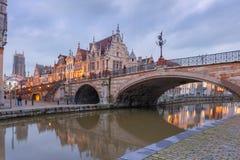 St Michael Bridge in Gent, België stock afbeelding