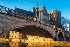 St. Michael Bridge at sunrise in Ghent, Belgium Stock Image