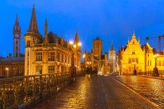 St. Michael Bridge at sunset in Ghent, Belgium Stock Photography