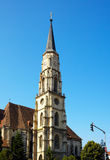 St. Michael Cathedral. Tower of St. Michael catholic cathedral in Cluj Napoca, Romania Royalty Free Stock Image