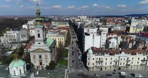 St Michael Cathedral, Belgrade, vue aérienne banque de vidéos