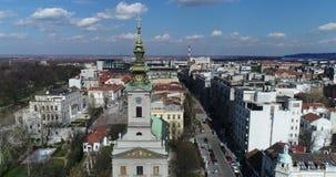 St Michael Cathedral, Belgrado, vista aerea archivi video