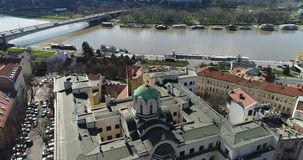 St Michael Cathedral, Belgrado, vista aerea video d archivio