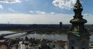 St Michael Cathedral, Belgrado, vista aerea stock footage