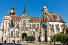 St. Michael Chapel and Cathedral of St. Elizabeth. Kosice, Slovakia. stock photos