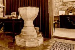 St Michael Church Font Sepia Tone stock afbeeldingen