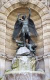 St. michael fountain in Paris Royalty Free Stock Image
