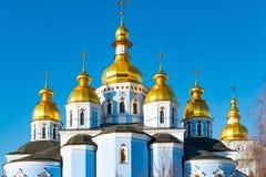 St Michael Gouden Overkoepeld Klooster, klassieke shinny, gouden koepels van de kathedraalkoepels van de kathedraal, de Oekra?ne royalty-vrije stock foto's