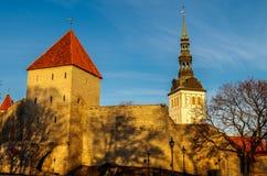 St Michael kościół, Tallinn za miasto ścianą Zdjęcie Royalty Free