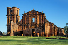 St Michael of the Missions Cathedral. Saint Michael of the Missions jesuit catholic cathedral ruins facade with its orange stones and single tower Royalty Free Stock Photo