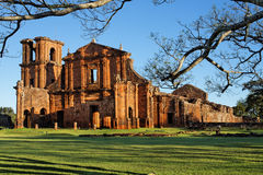 St Michael of the Missions Cathedral. Saint Michael of the Missions jesuit catholic cathedral ruins facade with its orange stones and single tower Stock Photography
