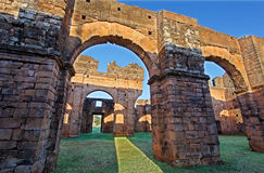 St Michael of the Missions Cathedral. The imposing interior ruins of Saint Michael of the Missions jesuit catholic cathedral with its orange stones Stock Photo