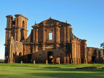 St Michael of the Missions Cathedral. Saint Michael of the Missions jesuit catholic cathedral ruins facade with its orange stones and single tower Royalty Free Stock Photos