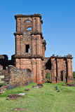 St Michael of the Missions Cathedral. Saint Michael of the Missions jesuit catholic cathedral ruins with its orange stones and single tower Royalty Free Stock Image