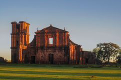 St Michael of the Missions Cathedral. The facade of Saint Michael of the Missions jesuit catholic cathedral ruins facade with its single tower and orange stones Stock Photography