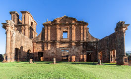 St Michael of the Missions Cathedral. Saint Michael of the Missions jesuit catholic cathedral ruins facade with its orange stones and single tower Royalty Free Stock Images