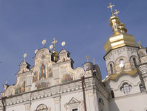 St Michael Monastery in Kiev. Ukraine, golden domes on the top with sky royalty free stock image